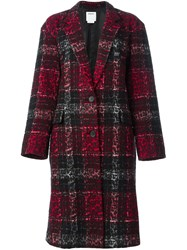 Dkny Checked Leopard Embossed Coat Black