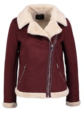 Dorothy Perkins Faux Leather Jacket Burgundy Red
