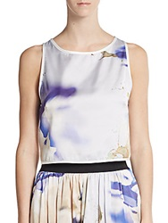 Abs By Allen Schwartz Printed Cropped Top Royal Multi