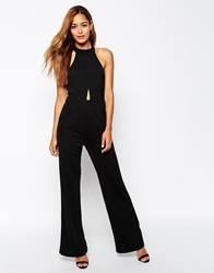 Oh My Love Open Back Halterneck Jumpsuit With Keyhole Detail Black