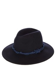 Blue Blue Japan Twisted Band Wool Felt Pastoral Hat Navy