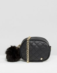 Dune Micro Quilted Cross Body Bag With Pom Black