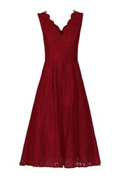 Jolie Moi Scalloped Lace Prom Dress Red