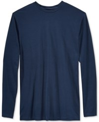 Alfani Men's Big And Tall Solid Long Sleeve Cotton Stretch T Shirt Neo Navy