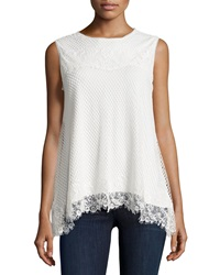 Max Studio Lace Overlay Babydoll Tank Ivory
