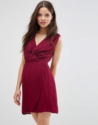 Wal G Dress With Knot Front Wine Red