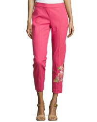 Natori Shibori Pique Floral Embroidered Pants Rose Rose Pink