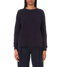 Clu Pleated Panel Cotton Jersey Sweatshirt Indigo
