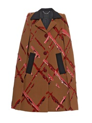 Marc Jacobs Painted Checks Sequin Embellished Wool Cape