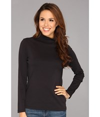 Pendleton L S Mock Neck Cotton Rib Tee Black Women's Long Sleeve Pullover
