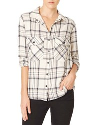 Sanctuary Signature Oversized Plaid Baby Flannel Boyfriend Shirt Grey Plaid