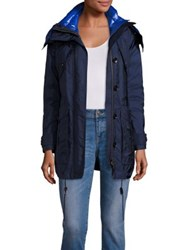 Burberry Chevrington Parka And Quilted Puffer Jacket Ink Blue
