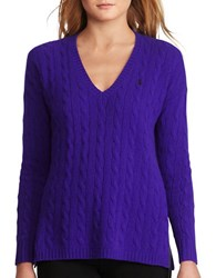 Polo Ralph Lauren Cable Wool Cashmere Sweater British Purple