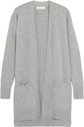 Michael Michael Kors Merino Wool And Cashmere Blend Cardigan Gray