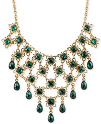 2028 Gold Tone Green Crystal Web Bib Necklace