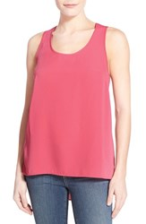 Women's Halogen Scoop Neck Woven Tank Red Chateaux