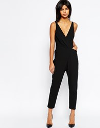 Asos Cami Wrap Jumpsuit With Peg Leg Black