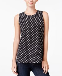 Maison Jules Tiered Polka Dot Top Only At Macy's Deep Black Combo
