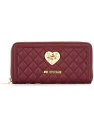 Love Moschino Quilted Continental Wallet Pink And Purple