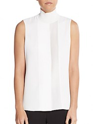Vince Lasercut Sleeveless Turtleneck Off White