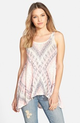 Geo Print Knit Tank Juniors Online Only Pink