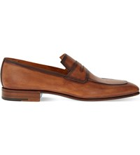 Sutor Mantellassi Unity Leather Penny Loafers Tan