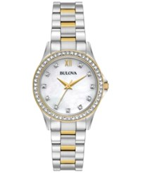 Bulova Women's Two Tone Stainless Steel Bracelet Watch And Pendant Necklace With Stud Earrings Box Set 30Mm 98X112 Two Tone