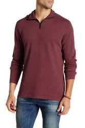 Agave Perry Long Sleeve Zip Mock Neck Flat Back Pullover Red