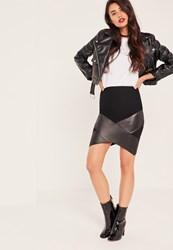 Missguided Black Wrap Over Faux Leather Panel Mini Skirt