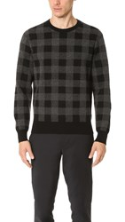 Club Monaco Buffalo Check Crew Sweater Black Charcoal