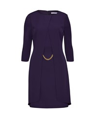 Gina Bacconi Layered Moss Crepe Dress With Chain Trim Purple