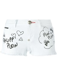 Philipp Plein 'From Hell' Denim Shorts White