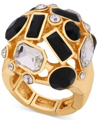 Guess Gold Tone Multi Stone Stretch Statement Ring
