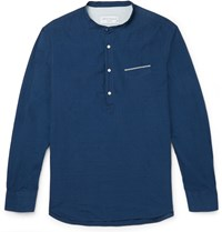 Officine Generale Auguste Grandad Collar Selvedge Cotton Shirt Blue
