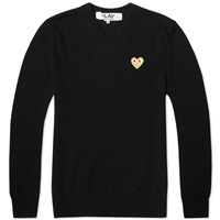 Comme Des Garcons Play Gold Heart V Neck Jumper Black