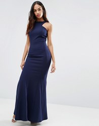 Club L Racer Front Maxi Dress In Crepe Navy