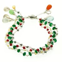 Andao Rainbow Cascade Bracelet Red Coral Silver