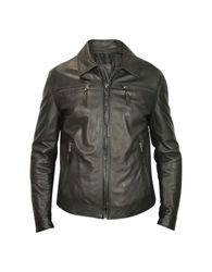 Forzieri Men's Black Genuine Leather Zip Jacket
