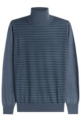 Brioni Printed Turtleneck Pullover With Cashmere And Silk Blue