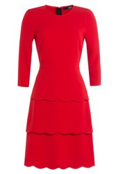 Steffen Schraut Three Quarter Sleeve Tiered Dress Red