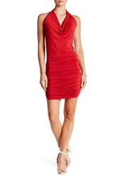 Go Couture Halter Neck Ruched Dress Red