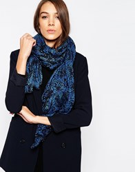 French Connection Boa Scarf Blue