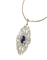 Effy Sapphire Diamond And 14K Yellow Gold Pendant Necklace 14 Kt. Yellow Gold
