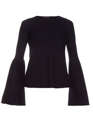 The Row Darcy Bell Sleeve Cashmere Silk Blend Knit Top Navy