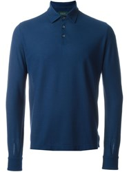 Zanone Longsleeved Polo Shirt Blue