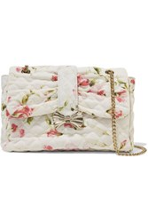 Red Valentino Redvalentino Floral Print Quilted Canvas Shoulder Bag Multi