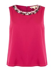 Yumi Embellished Neck Swing Top Fuchsia