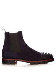 Christian Louboutin Melon Spike Embellished Suede Chelsea Boots Navy Black