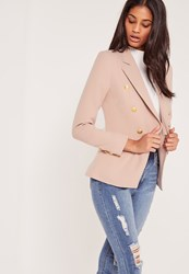Missguided Military Style Blazer Nude Mauve