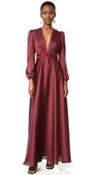 Jill Stuart V Neck Gown Oxblood